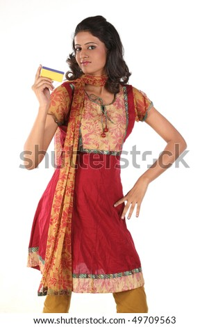 teenage girl with gold card - stock photo