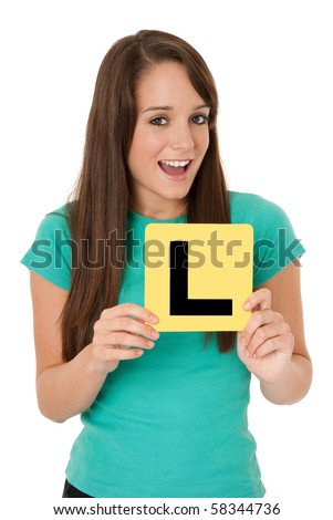 Teenage girl with L plate