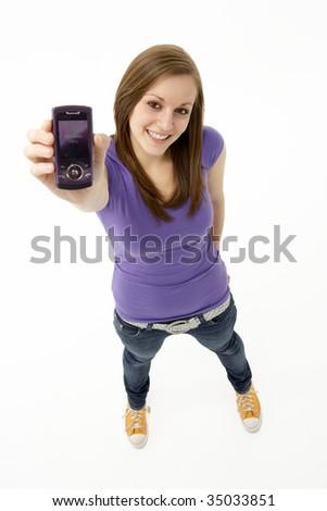 Teenage Girl With Mobile Phone - stock photo