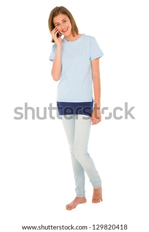 teenage girl with smartphone - stock photo