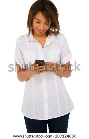teenage girl with smartphone - stock photo