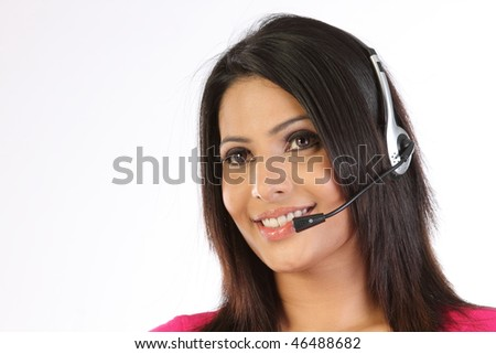 Teenage girl with the microphone - stock photo