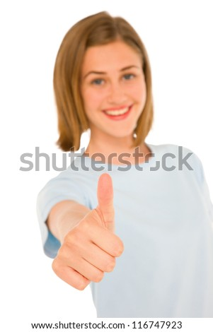 teenage girl with thumb up
