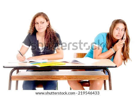 teenage girls at school isolated in white