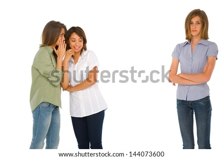 teenage girls gossiping - stock photo
