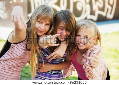 Teenage girls having fun - stock photo