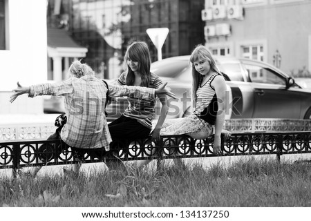 Teenage girls on the city street - stock photo