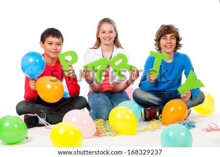 Teenage Party Time with balloons on a white background