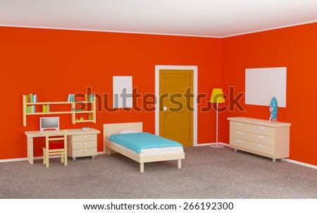 teenage room with a bed and a study desk. 3d illustration - stock photo