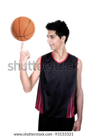 teenage spinning a basketball isolated over a white background