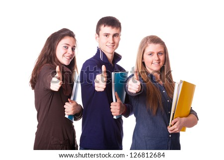 Teenage Students with Thumbs Up - stock photo