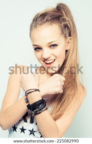 Teenage stylish girl - stock photo