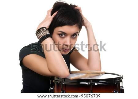 teenage with drum - stock photo