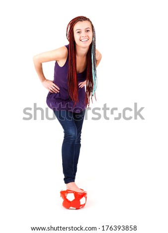 teenage woman with ball, full lenght, white background - stock photo