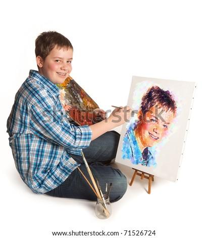 Teenager artist making a self-portrait artwork painting - stock photo