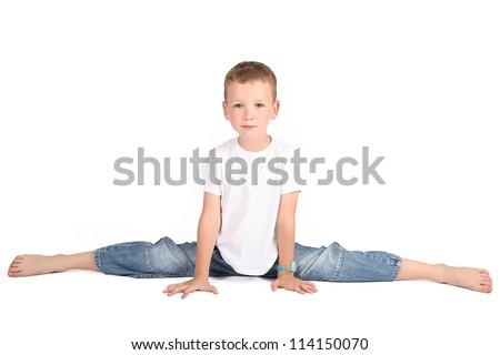 naked boy doing a split