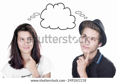 teenager boy & girl looking at thought bubble  - stock photo