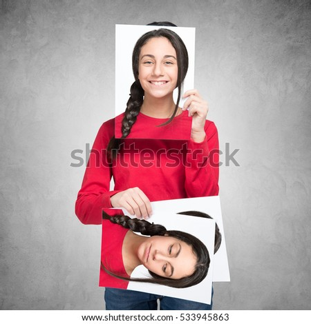 Teenager changing her face