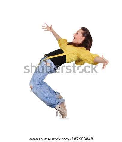 Teenager dancing breakdance in action over white - stock photo