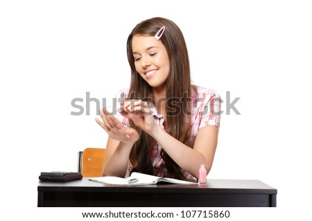 teenager doesn't listen in school - stock photo