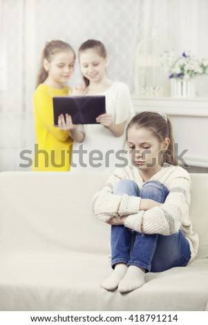 teenager exclude from group of girls - stock photo