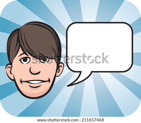 Teenager face with speech bubble - stock photo