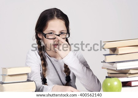 teenager girl hates the learning - stock photo