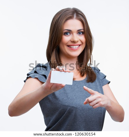 Teenager girl hold white blank paper. Young smiling woman show blank card. Girl portrait isolated on white background. - stock photo