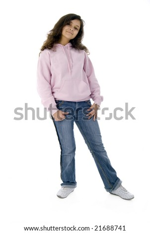Teenager Girl In Pink - stock photo