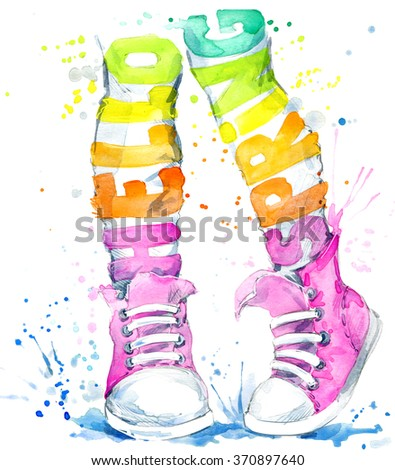 Teenager girl in sneakers. Watercolor sports shoes for walking. Hello Spring watercolor text. Watercolor spring background for fashion print, poster, textiles, fashion design - stock photo