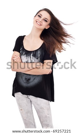 Teenager girl on a white background.
