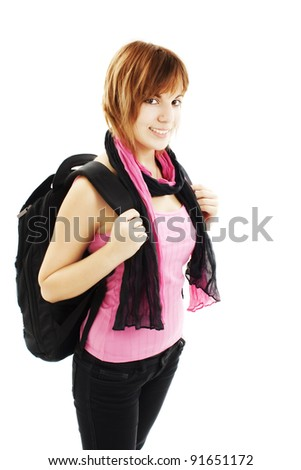 Teenager Girl with Backpack. Isolated on white background - stock photo