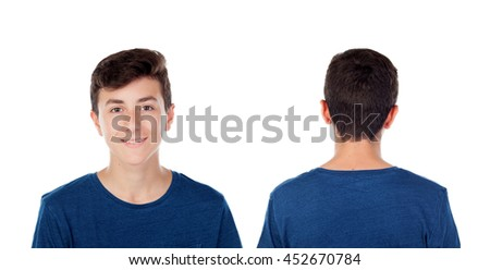 Teenager guy fourteen years with blue t-shirt isolated on white background. On front and back - stock photo