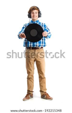teenager holding a vinyl - stock photo