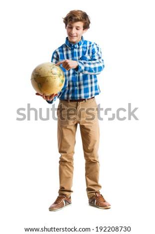 teenager holding a world globe - stock photo
