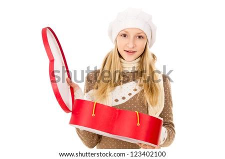 teenager holding heart shaped box isolated - stock photo