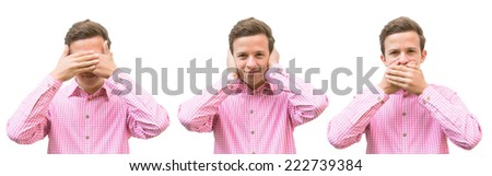 teenager in a red shirt standing three times covering his eyes, ears and mouth - stock photo