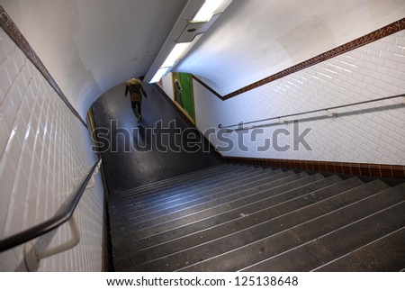 teenager in a station of metro, Paris, France