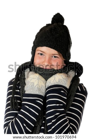 Teenager in thick clothing in front of a white background - stock photo