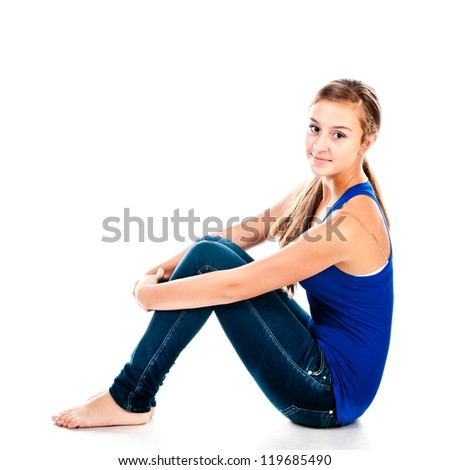 teenager isolated on a white background