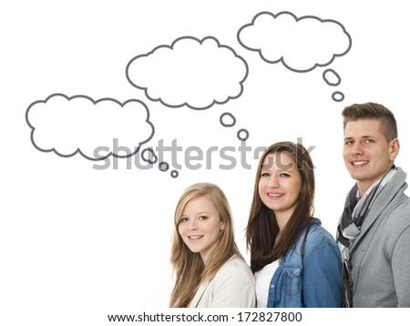 Teenager isolated on white - stock photo