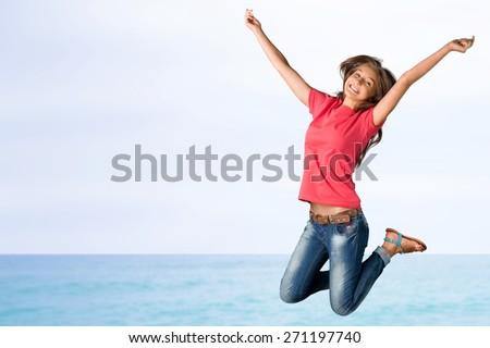 Teenager, Jumping, Teenage Girls. - stock photo