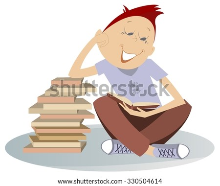 Teenager needs to read a lot of books - stock photo
