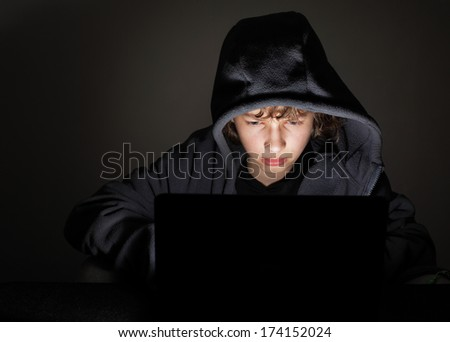 teenager play in computer game - stock photo