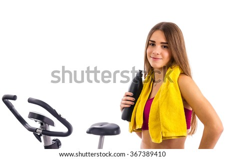 Teenager ready for bicycle training - stock photo