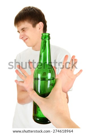 Teenager refuse a Bottle of the Beer on the White Background - stock photo