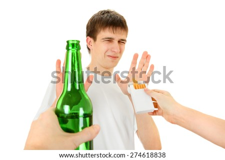 Teenager refuse a Cigarette and the Beer Isolated on the White Background