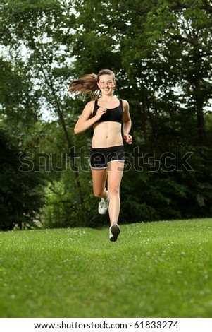 Teenager running in the park
