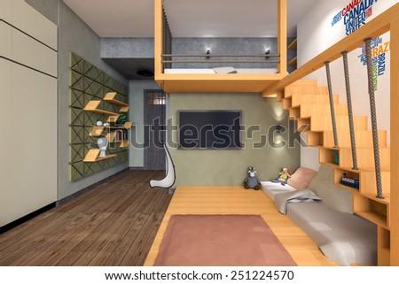 Teenager's room 3d rendering - stock photo