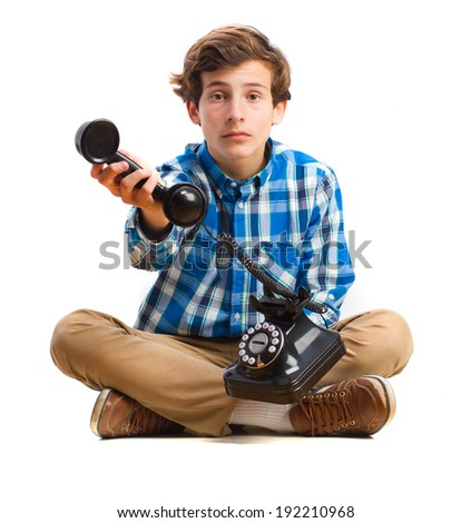 teenager showing a phone - stock photo